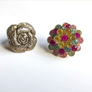 2 rings (rose and colorful)